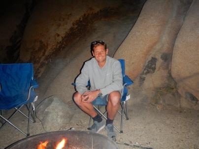 Arno camping at the Joshua Tree