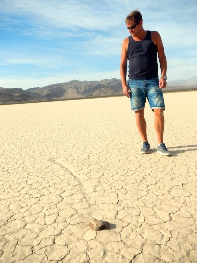 "The famous ""wandering rocks"" of Racetrack Flats, Death Valley National Park, CA"
